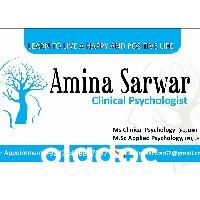 Best Psychologist in Mughalpura, Lahore - Ms. Amina Sarwar